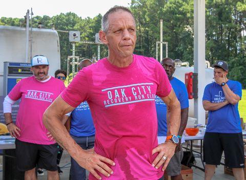 Pink, Athlete, Recreation, Fun, Physical fitness, Magenta, Exercise, Running, Half marathon, T-shirt,