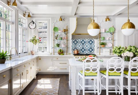 colleen bashaw kitchen white cabinets, marble counters