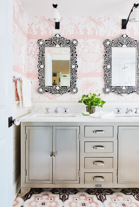 colleen bashaw bathroom pink wallpaper