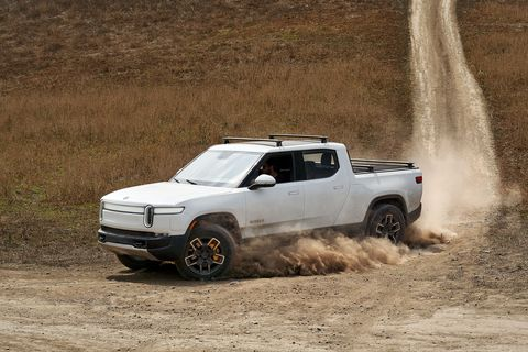 Rivian R1T pickup truck off-road front 3-4
