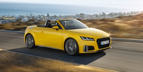 Land vehicle, Vehicle, Car, Automotive design, Audi, Audi tt, Yellow, Sports car, Convertible, Performance car,