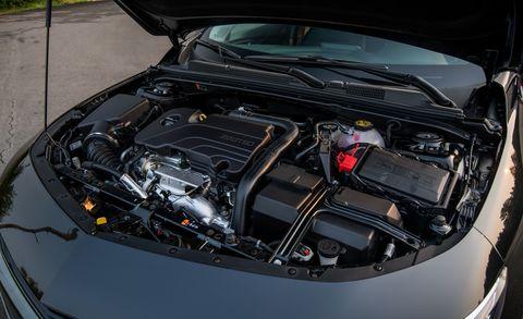 Land vehicle, Vehicle, Car, Engine, Auto part, Hood, Personal luxury car, Family car, Automotive engine part,