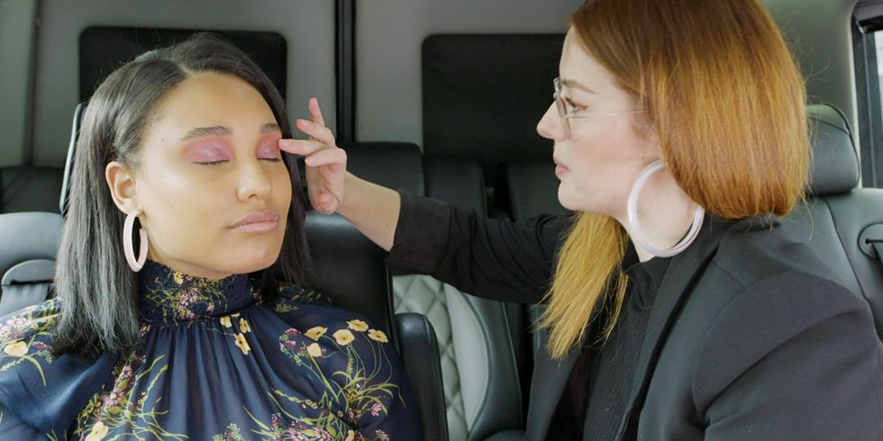 Watch Celeb Makeup Artist Katie Jane Hughes Create a Spring Look in a Moving Car