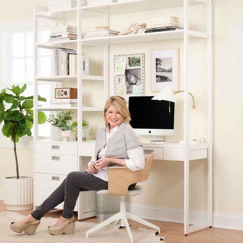 Furniture, White, Desk, Sitting, Interior design, Room, Table, Chair, Shelf, Home,
