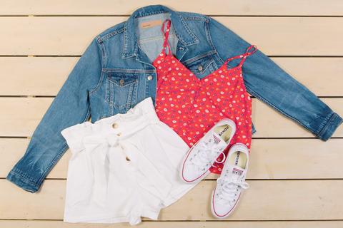 Denim, Jeans, Clothing, Red, Textile, Outerwear, Pattern, Design, Pocket, Sleeve,
