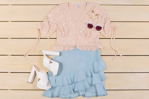 Clothing, White, Ruffle, Pink, Blue, Product, Outerwear, Sleeve, Textile, Dress,