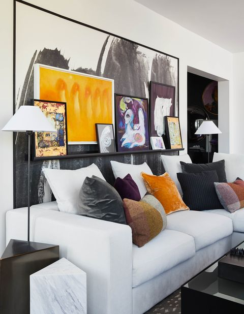 Living room, Room, Interior design, Furniture, Orange, Yellow, Property, Couch, Wall, Home,