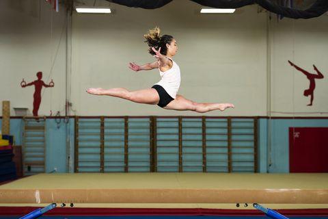 Gymnastics, Artistic gymnastics, Tumbling (gymnastics), Balance beam, Individual sports, Sports, Leg, Mat, Balance, Sport aerobics,