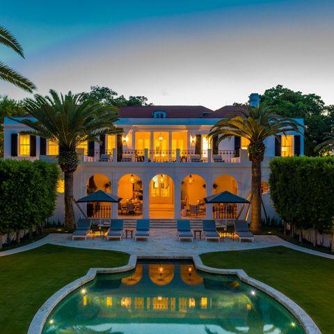 Estate, Property, Building, Mansion, Majorelle blue, Hacienda, Home, Real estate, House, Swimming pool,
