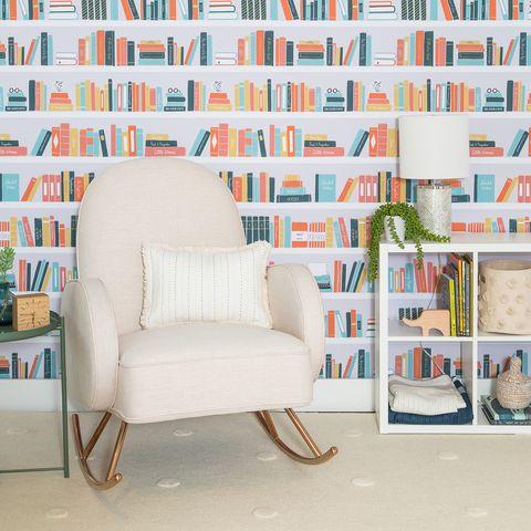 Wallpaper, Wall, Orange, Interior design, Furniture, Room, Pattern, Design, Line, Living room,
