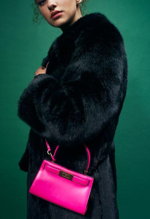 Fur, Pink, Bag, Magenta, Fur clothing, Handbag, Fashion accessory, Material property, Textile, Photography,