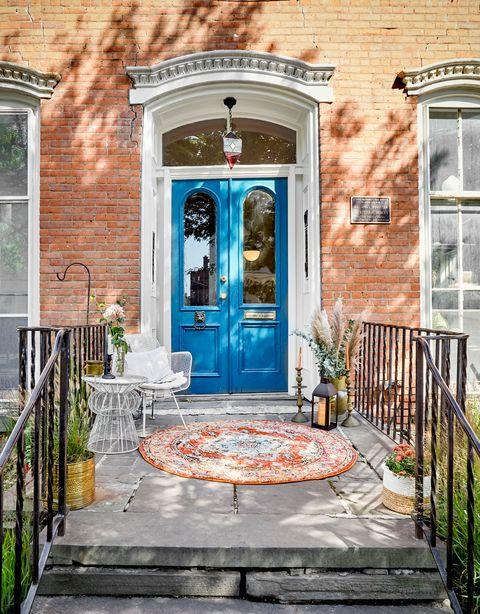 Blue, Door, Brick, Property, Building, Architecture, House, Porch, Wall, Brickwork,
