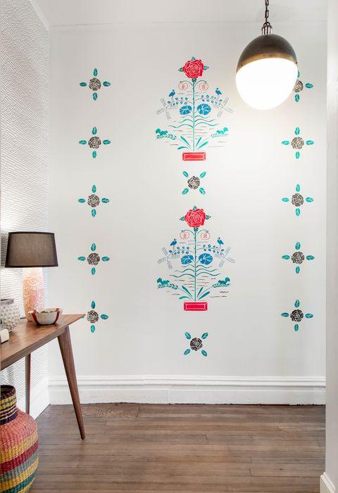 Wallpaper, Wall, Product, Wall sticker, Room, Floor, Interior design, Flooring, Pattern, Visual arts,