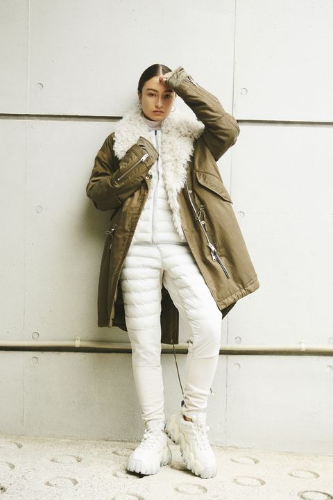 White, Street fashion, Clothing, Fashion, Outerwear, Coat, Snapshot, Jeans, Trench coat, Footwear,