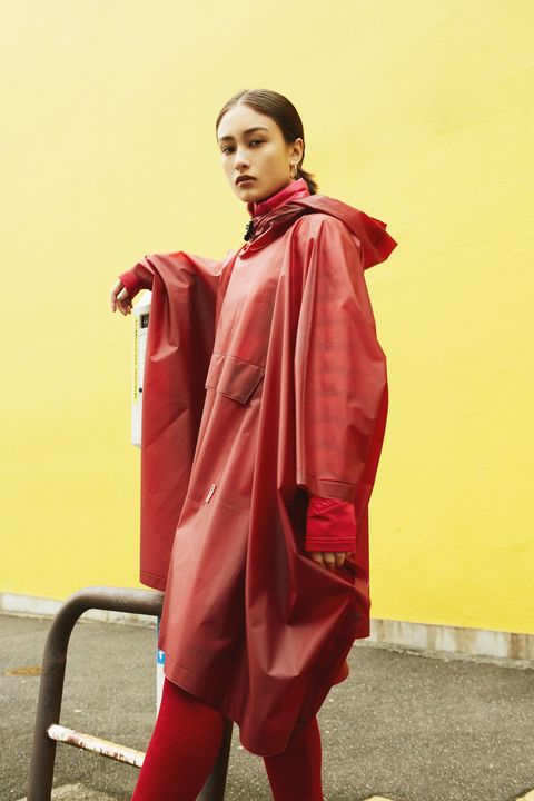 Clothing, Red, Outerwear, Maroon, Fashion, Costume, Robe, Textile, Raincoat, Fashion design,