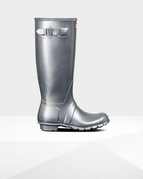 hunter silver metallic wellington boots