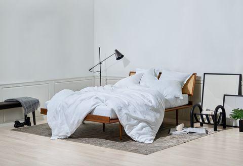 Furniture, White, Bed, Bedroom, Room, Bed frame, Bed sheet, Bedding, Floor, Interior design,