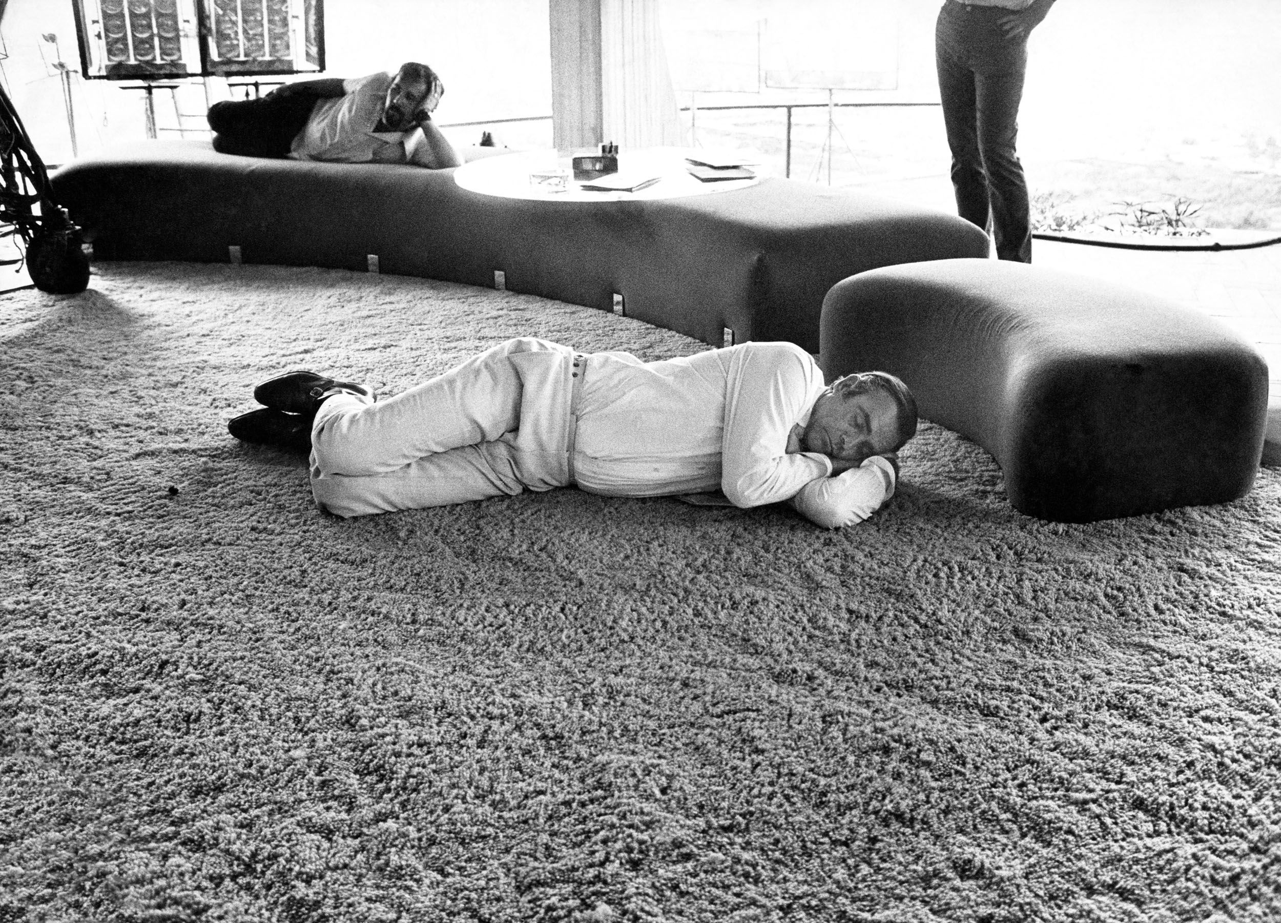 Sean Connery takes a nap during a break from filming Diamonds Are Forever