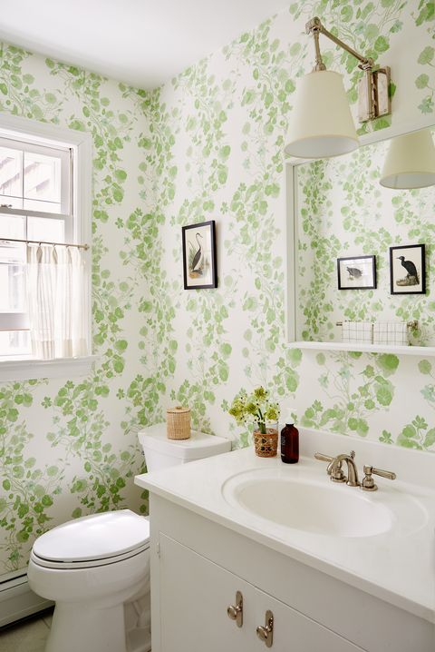 bathroom, green and white wallpaper, bird artwork