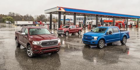 View Photos of the Chevrolet Silverado Duramax Diesel, Ford F-150 Power Stroke Diesel, and Ram 1500 EcoDiesel