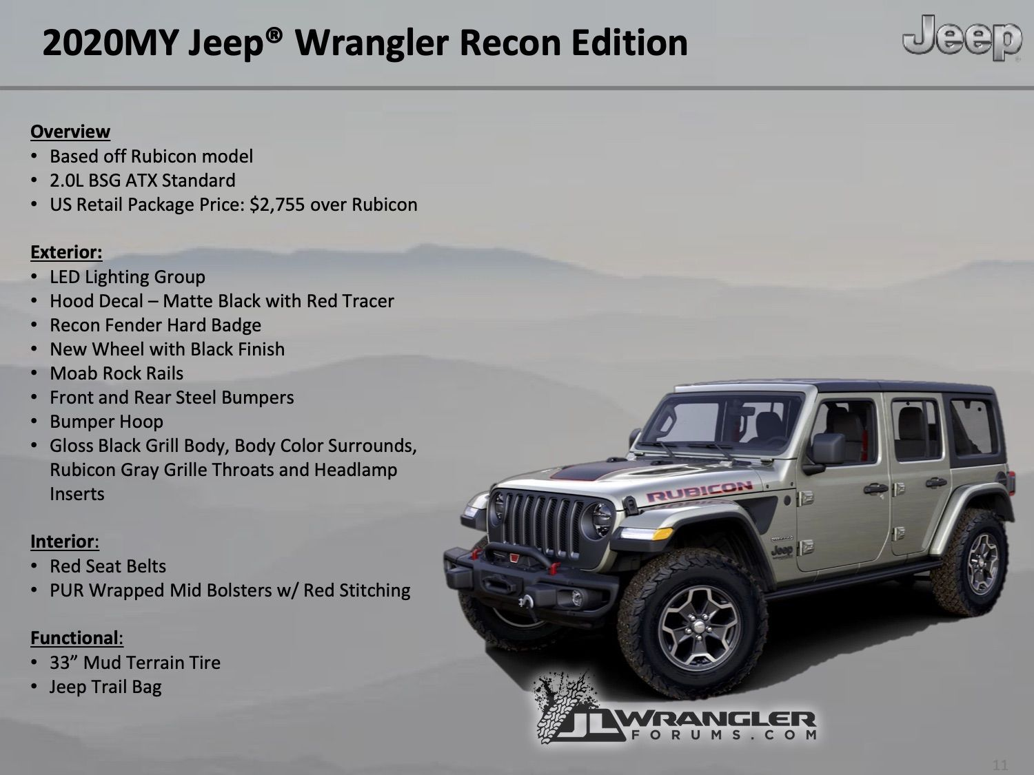 2020 Jeep Wrangler Rubicon Getting A Recon Edition