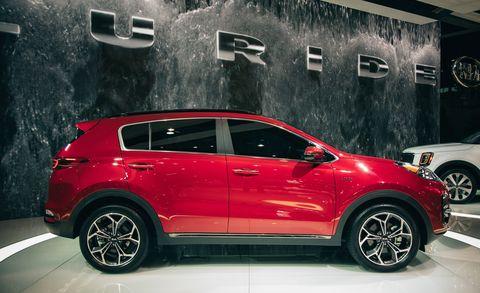 Land vehicle, Vehicle, Car, Motor vehicle, Automotive design, Kia sportage, Auto show, Sport utility vehicle, City car, Compact sport utility vehicle,