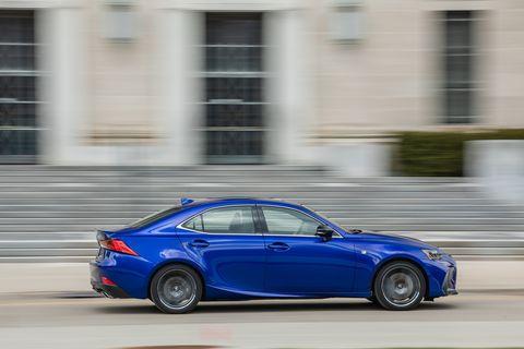 Land vehicle, Vehicle, Car, Lexus, Blue, Automotive design, Lexus is, Full-size car, Rim, Mid-size car,