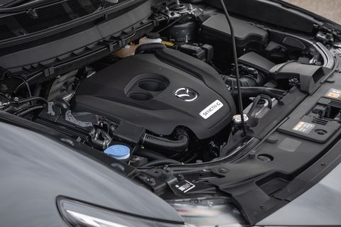 Land vehicle, Vehicle, Car, Engine, Auto part, Mazda, Personal luxury car, Hood, Mazda3, Mid-size car,
