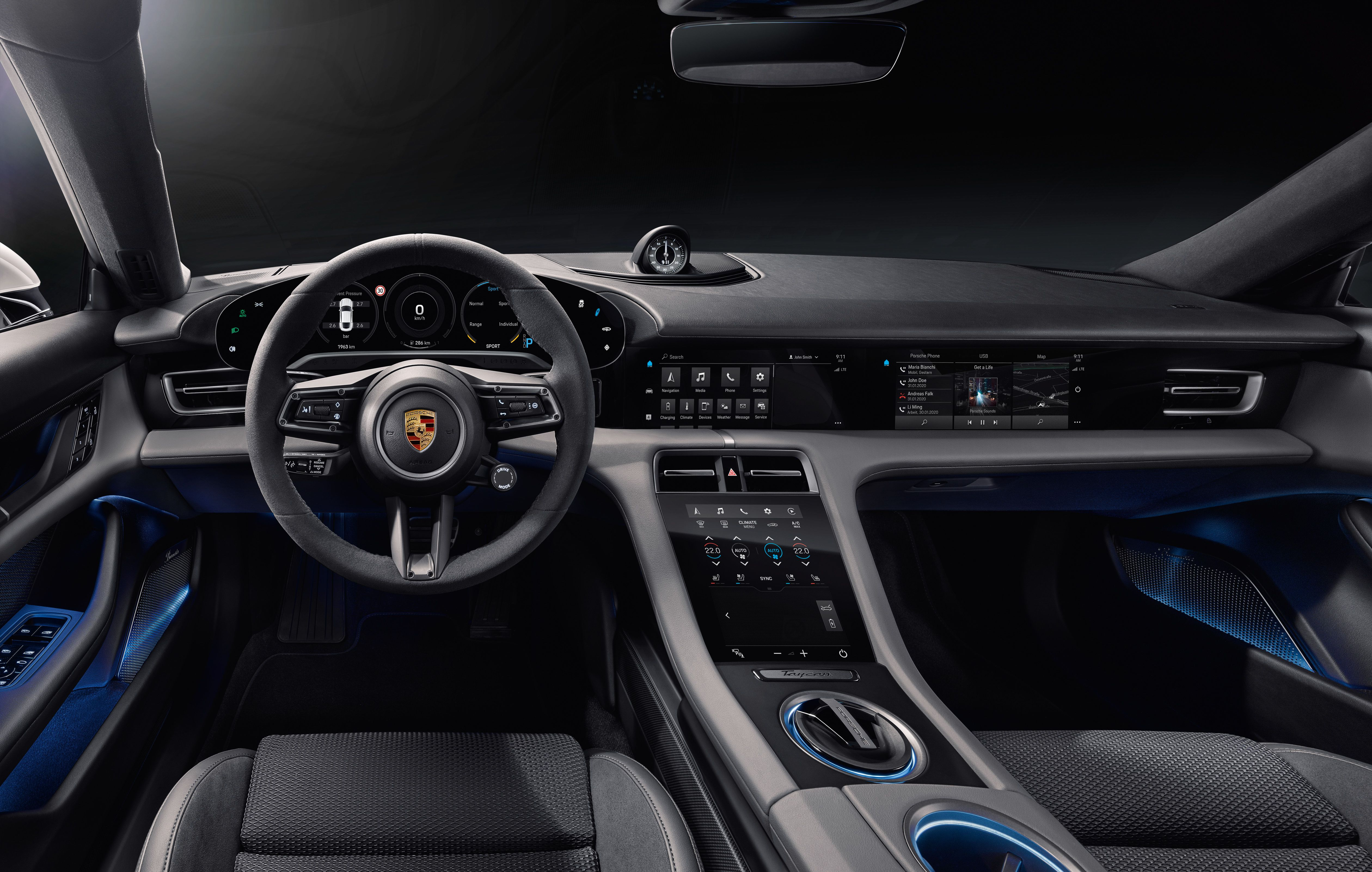 2020 Porsche Taycan EV Interior Revealed and Has Tons of Screens