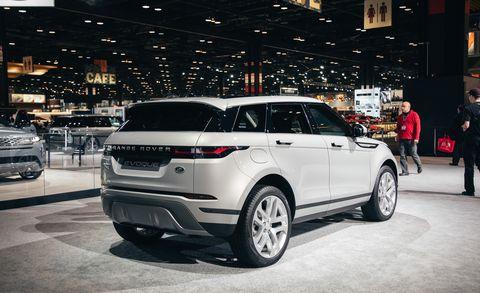 Land vehicle, Vehicle, Car, Auto show, Automotive design, Range rover evoque, Sport utility vehicle, Range rover, Compact sport utility vehicle, Land rover,