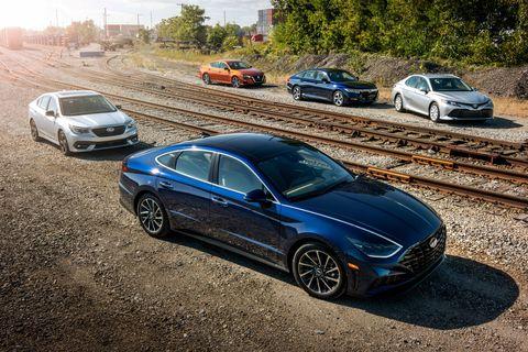 Mid-Size Sedans Compared: Sonata, Altima, Legacy, Camry, Accord
