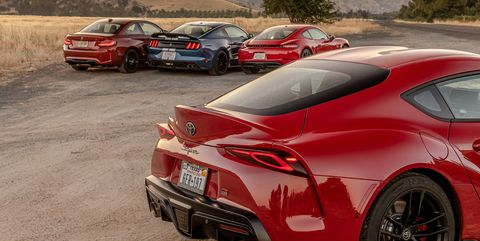 View Photos of the Toyota Supra, BMW M2, Ford Mustang Shelby GT350, and Porsche 718 Cayman