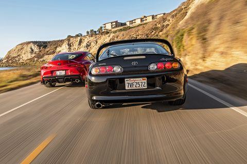 Land vehicle, Vehicle, Car, Automotive design, Sports car, Performance car, Toyota supra, Toyota, Road, Sedan,
