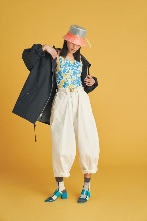Clothing, Yellow, Fashion, Costume, Outerwear, Costume design, Trousers, Fashion design, Street fashion,