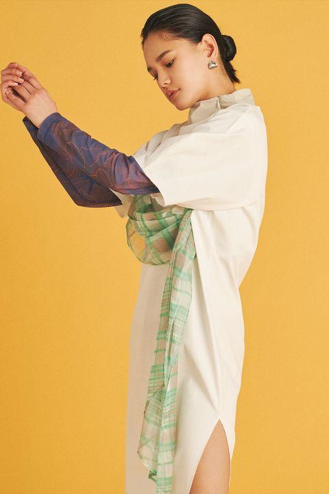 Yellow, Textile, Costume, Kimono,