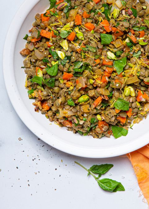 lentil salad with vegetables, herbs, and dressing