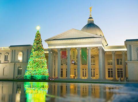 白色建築旁有一顆綠色的聖誕樹