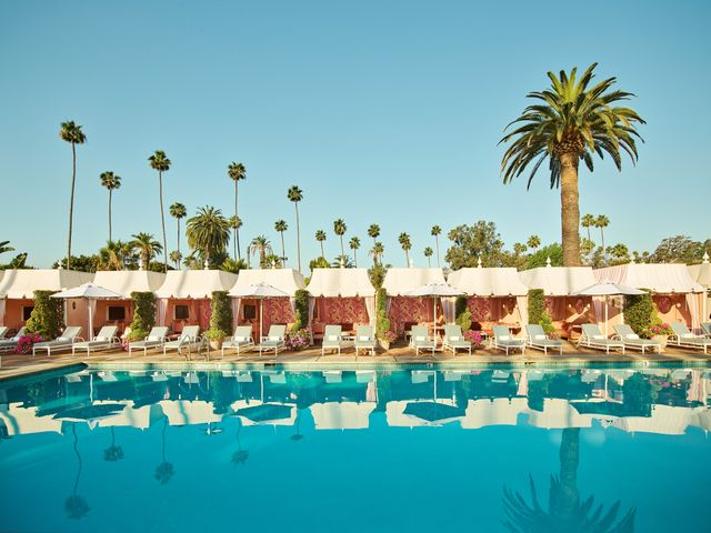 the beverly hills hotel's newly redesigned cabanas feature cw stockwells martinique pattern