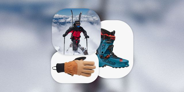 collage of man wearing jones outerwear, dalbello boot, and  north face glove