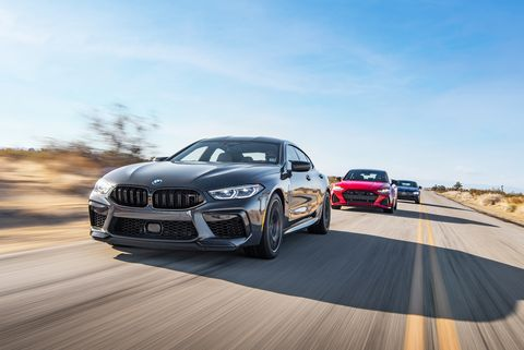 2020 bmw m8 competition gran coupe, 2021 audi rs7 sportback, and 2021 mercedes amg gt63 s