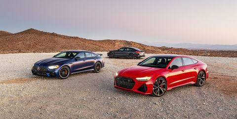 2021 mercedes amg gt63 s, 2020 bmw m8 competition gran coupe, and 2021 audi rs7 sportback