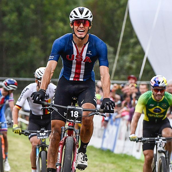 christopher blevins wins 2021 cross country short track race at mountain bike world championships