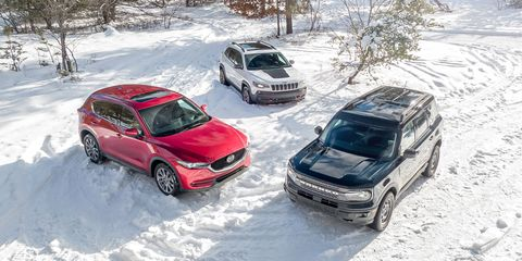 2021 ford bronco sport badlands 4x4, 2021 jeep cherokee trailhawk 4x4, and 2021 mazda cx5 signature awd