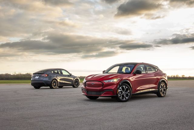 2021 ford mustang mach e e4x and 2020 tesla model y performance