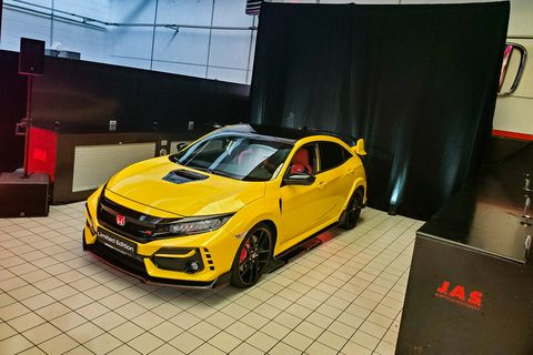 Land vehicle, Vehicle, Car, Automotive design, Yellow, Mid-size car, Auto show, Honda, Hot hatch, Hatchback,