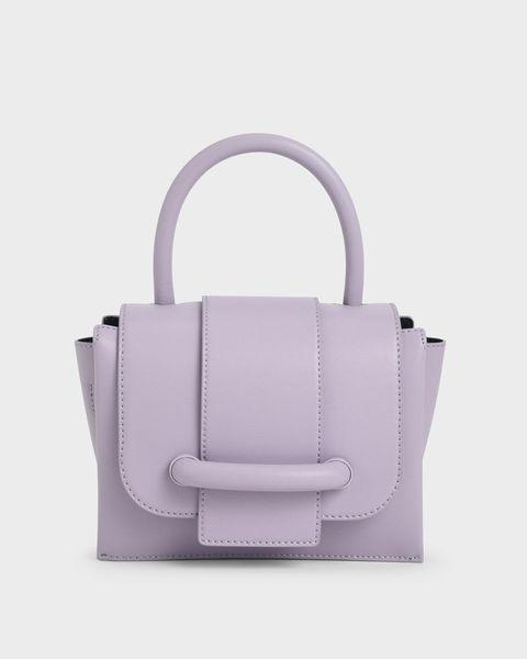 寬皮帶造型手提包 紫丁香色