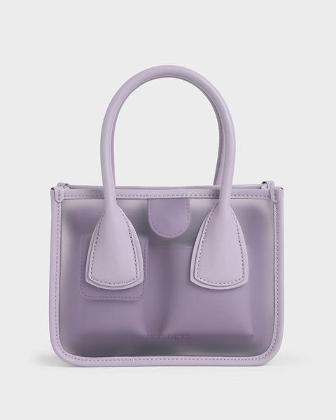 果凍拼接手提包 紫丁香色