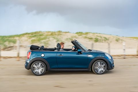Land vehicle, Vehicle, Car, Mini, Mini cooper, Convertible, Vehicle door, Sky, Automotive design, Landscape,