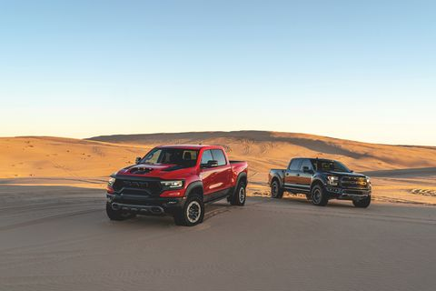 2021 ram 1500 trx and 2020 ford f 150 raptor