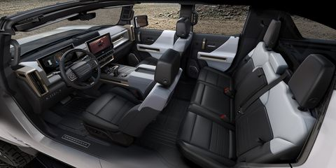 the 2022 gmc hummer ev's design visually communicates extreme capability, reinforced with rugged architectural details that are delivered with a premium, well executed and appointed interior